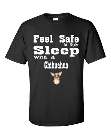 Feel Safe At Night Sleep With A Chihuahua - Unisex Tshirt S-Black- Cool Jerseys - 1