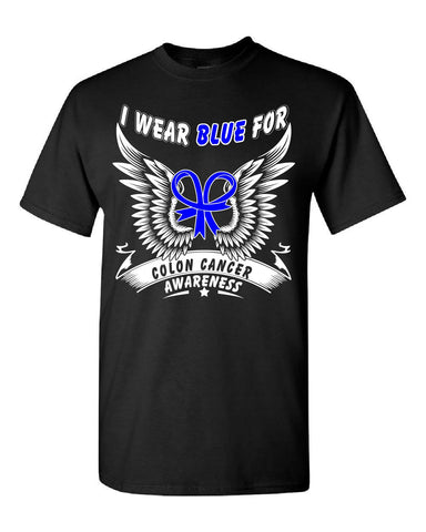 Colon Cancer Awareness Survivor I Wear Blue - Unisex Tshirt S-Black- Cool Jerseys - 1