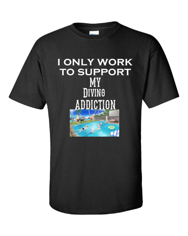 I Only Work To Support My Diving Addiction - Unisex Tshirt S-Black- Cool Jerseys - 1