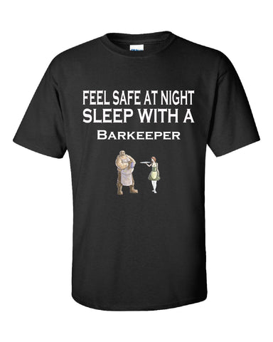 Feel Safe At Night Sleep With A Barkeeper - Unisex Tshirt S-Black- Cool Jerseys - 1