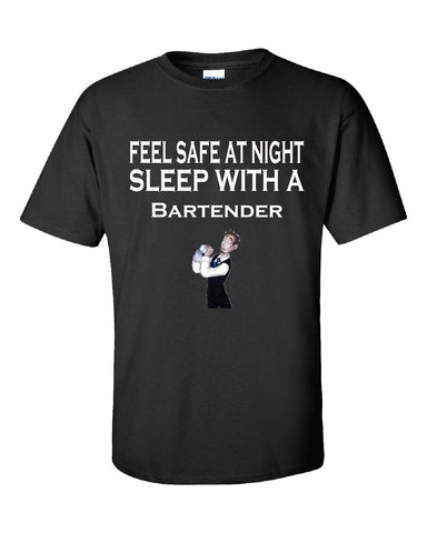 Feel Safe At Night Sleep With A Bartender - Unisex Tshirt S-Black- Cool Jerseys - 1