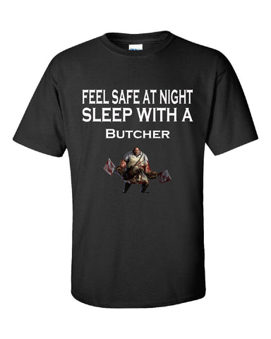 Feel Safe At Night Sleep With A Butcher - Unisex Tshirt S-Black- Cool Jerseys - 1