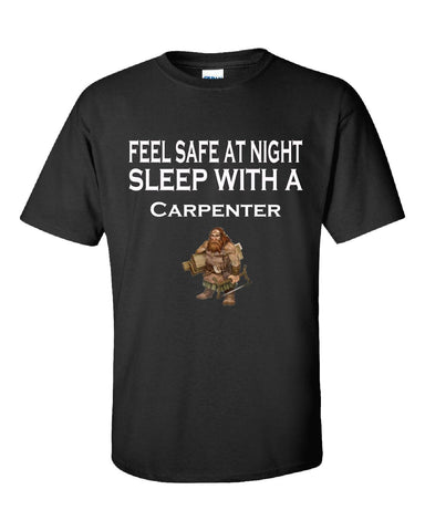 Feel Safe At Night Sleep With A Carpenter - Unisex Tshirt S-Black- Cool Jerseys - 1