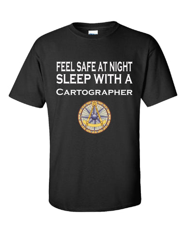 Feel Safe At Night Sleep With A Cartographer - Unisex Tshirt S-Black- Cool Jerseys - 1