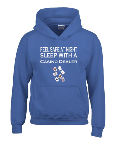 Feel Safe At Night Sleep With A Casino Dealer - Hoodie S-Royal- Cool Jerseys - 1