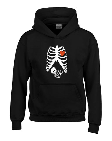 Pregnant Halloween Maternity Scary Skeleton Costumes - Hoodie S-Black- Cool Jerseys - 1