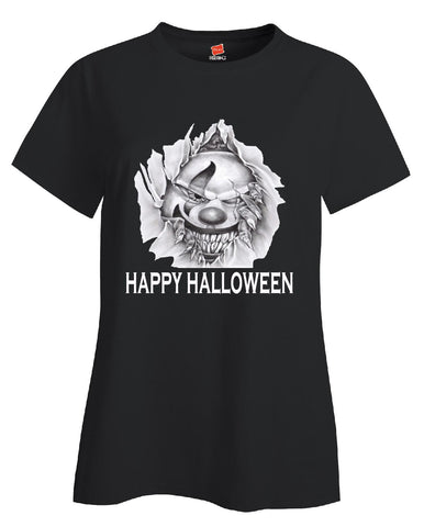 Happy Halloween Scary Clown Clowns Costume - Ladies T Shirt S-Black- Cool Jerseys - 1