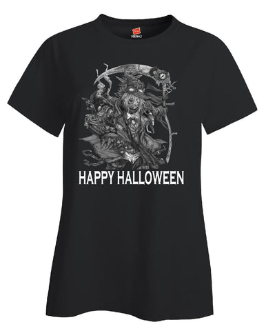 Happy Halloween Scary Scarecow Costumes - Ladies T Shirt S-Black- Cool Jerseys - 1