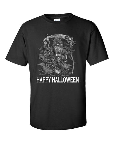 Happy Halloween Scary Scarecow Costumes - Unisex Tshirt S-Black- Cool Jerseys - 1