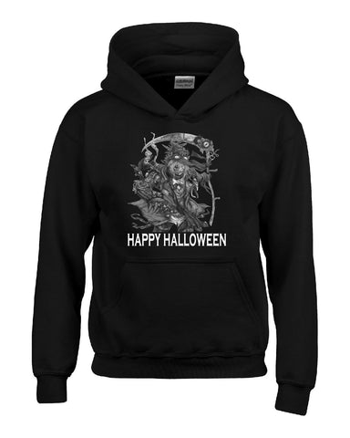 Happy Halloween Scary Scarecow Costumes - Hoodie S-Black- Cool Jerseys - 1