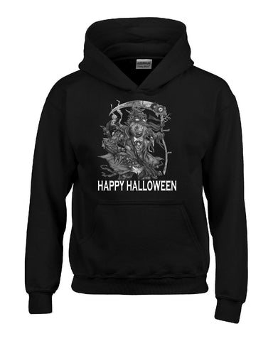 Happy Halloween Scary Scarecow Costumes - Kids Hoodie Kids S-Black- Cool Jerseys - 1