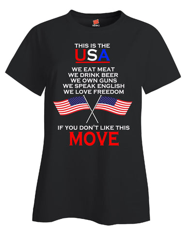 American Flag This Is USA Meat Beer Guns Freedom English - Ladies T Shirt S-Black- Cool Jerseys - 1