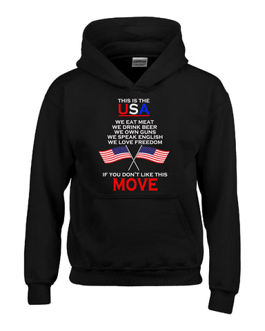 American Flag This Is USA Meat Beer Guns Freedom English - Hoodie S-Black- Cool Jerseys - 1