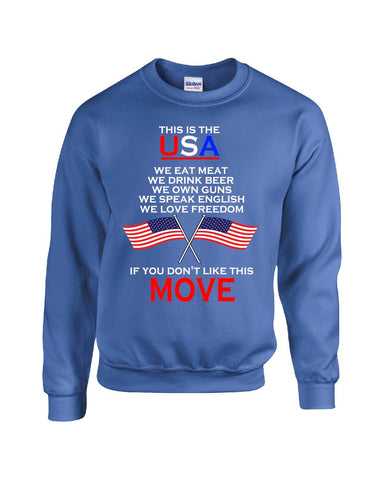 American Flag This Is USA Meat Beer Guns Freedom English - Sweatshirt S-Royal- Cool Jerseys - 1