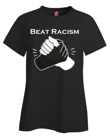Beat Racism And Racist In America USA - Ladies T Shirt S-Black- Cool Jerseys - 1