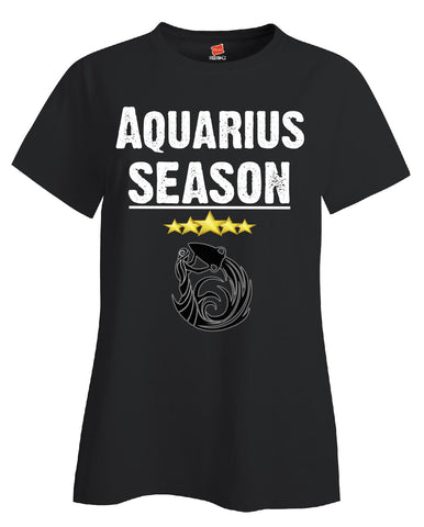 Aquarius Season Zodiac Star Signs Horoscope  - Ladies T Shirt S-Black- Cool Jerseys - 1