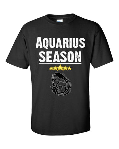 Aquarius Season Zodiac Star Signs Horoscope  - Unisex Tshirt S-Black- Cool Jerseys - 1