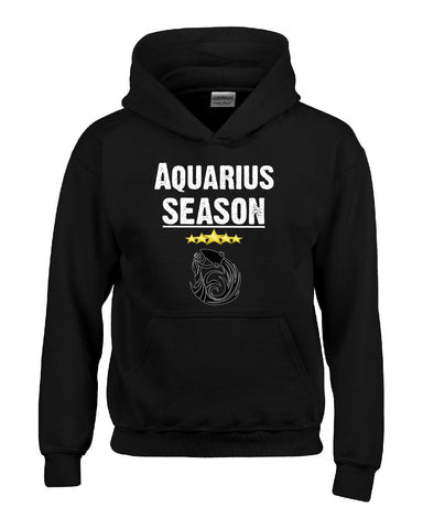 Aquarius Season Zodiac Star Signs Horoscope  - Hoodie S-Black- Cool Jerseys - 1