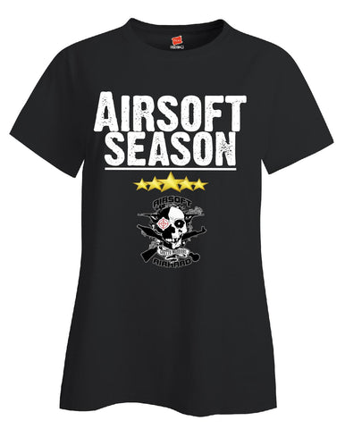 Airsoft Season Sport - Ladies T Shirt S-Black- Cool Jerseys - 1