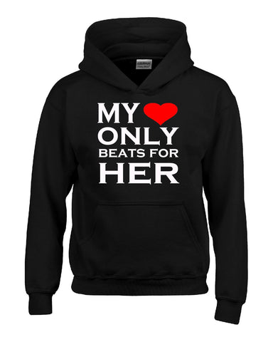 My Heart Only Beats For Her Couples Valentines Gift - Hoodie S-Black- Cool Jerseys - 1