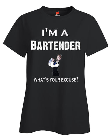 Im A Bartender - What's Your Excuse Funny & Sarcastic - Ladies T-Shirt S-Black- Cool Jerseys - 1