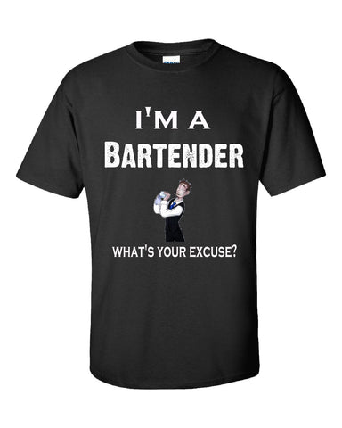 Im A Bartender - What's Your Excuse Funny & Sarcastic - Unisex Tshirt S-Black- Cool Jerseys - 1