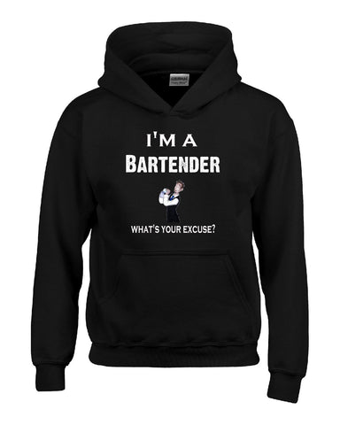 Im A Bartender - What's Your Excuse Funny & Sarcastic - Hoodie S-Black- Cool Jerseys - 1