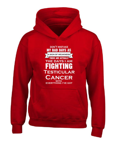 IM FIGHTING Testicular CANCER.ITS NOT A SIGN OF WEAKNESS - Hoodie S-Red- Cool Jerseys - 1