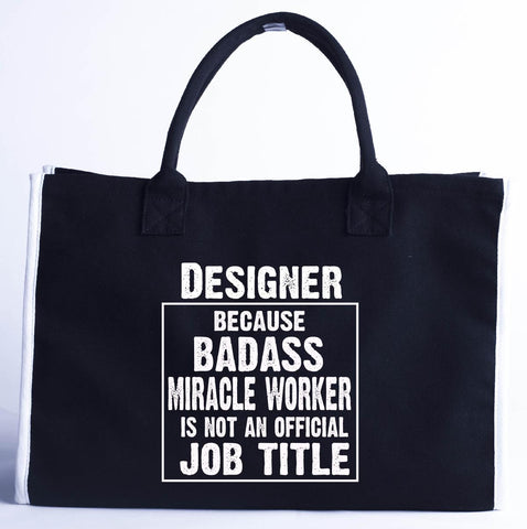 Designer Cos Badass Miracle Worker Is Not A Job Title - Fashion Customized Tote Bag 410 x 280 x 150-Black- Cool Jerseys