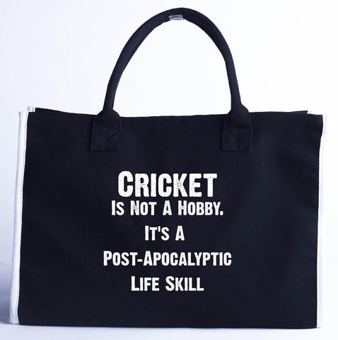 Cricket Is Not A Hobby. A Post Apocalyptic Life Skill - Fashion Customized Tote Bag 410 x 280 x 150-Black- Cool Jerseys
