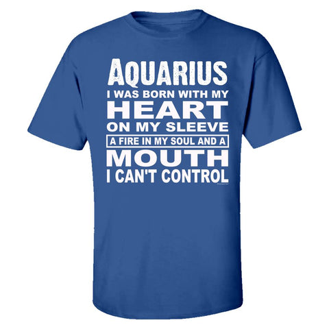 Aquarius. Born With Heart on Sleeve and Fire In Soul - Kids T-shirt