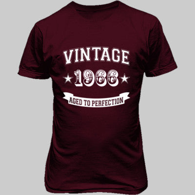 Vintage 1966 Aged To Perfection - Unisex T-Shirt FRONT Print S-Heathered Cardinal- Cool Jerseys - 1