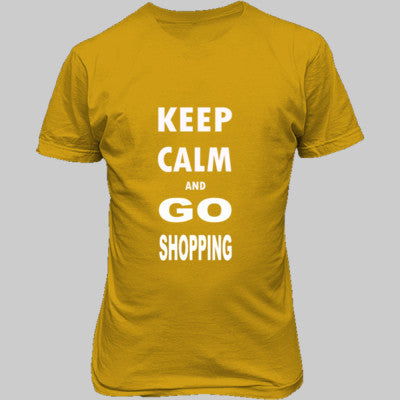 Keep Calm And Go Shopping - Unisex T-Shirt FRONT Print S-Gold- Cool Jerseys - 1