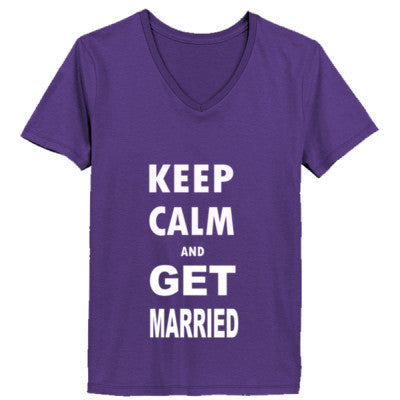 Keep Calm And Get Married - Ladies' V-Neck T-Shirt - Cool Jerseys - 1