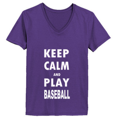 Keep Calm And Play Baseball - Ladies' V-Neck T-Shirt - Cool Jerseys - 1