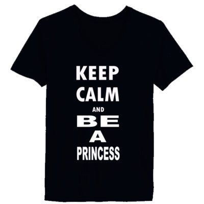 Keep Calm and Be a Princess - Ladies' V-Neck T-Shirt - Cool Jerseys - 1