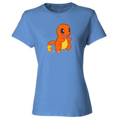 Charmander (Pokemon) Tshirt - Ladies' Cotton T-Shirt S-Carolina Blue- Cool Jerseys - 1