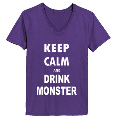 Keep Calm And Drink Monster - Ladies' V-Neck T-Shirt - Cool Jerseys - 1