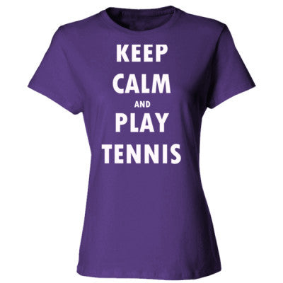 Keep Calm And Play Tennis - Ladies' Cotton T-Shirt S-Purple- Cool Jerseys - 1