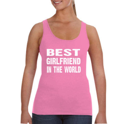 Best Girlfriend In The World - Ladies Tank Top S-Hot Pink- Cool Jerseys - 1