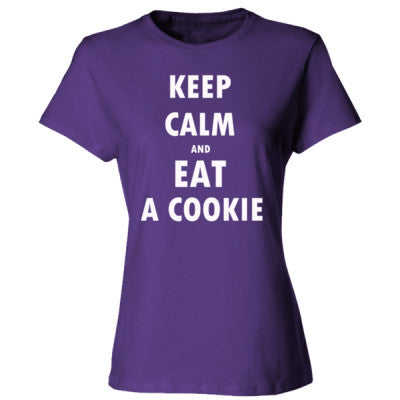 Keep Calm And Eat A Cookie - Ladies' Cotton T-Shirt S-Purple- Cool Jerseys - 1