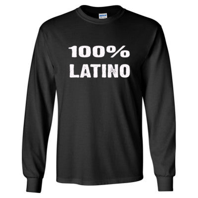 100% Latino tshirt - Long Sleeve T-Shirt S-Black- Cool Jerseys - 1