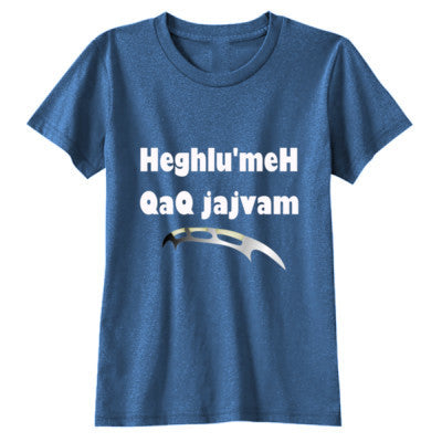 Heghlu'meH QaQ jajvam - Youth Girls Short Sleeve T-Shirt S-Blue Triblend- Cool Jerseys - 1