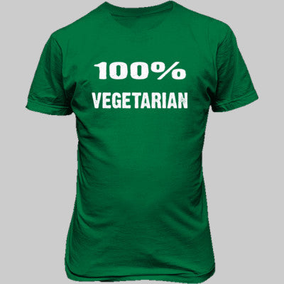 100% Vegetarian tshirt - Unisex T-Shirt FRONT Print S-Irish Green- Cool Jerseys - 1