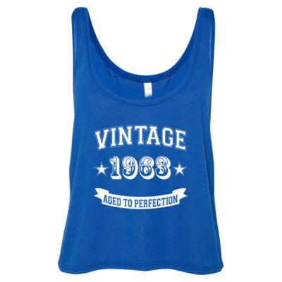 Vintage 1963 Aged To Perfection - Ladies' Cropped Tank Top S-True Royal- Cool Jerseys - 1
