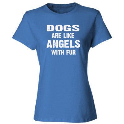Dogs Are Like Angels With Fur Tshirt - Ladies' Cotton T-Shirt S-Carolina Blue- Cool Jerseys - 1