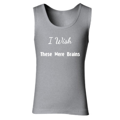 I Wish These Were Brains - Ladies' Soft Style Tank Top S-Sport Grey (Rs)- Cool Jerseys - 1