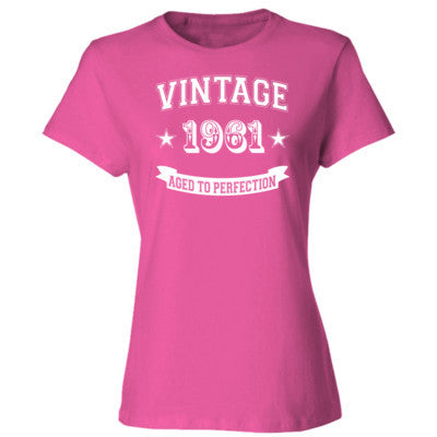 Vintage 1961 Aged To Perfection - Ladies' Cotton T-Shirt S-Wow Pink- Cool Jerseys - 1