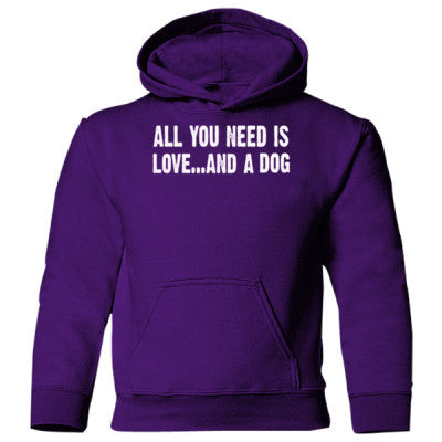 All you need is love and a dog Heavy Blend Children's Hooded Sweatshirt S-Purple- Cool Jerseys - 1