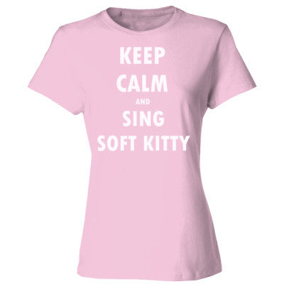Keep Calm And Sing Soft Kitty - Ladies' Cotton T-Shirt S-Pale Pink- Cool Jerseys - 1